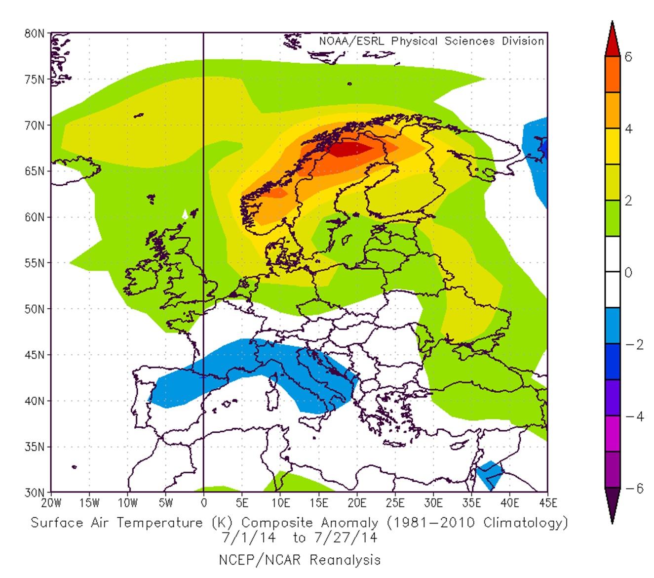 Im Alpenraum und im nördlichen Mittelmeer war der Juli 2014 zu kühl. Perfektes Sommerwetter herrschte in Skandinavien, wo ein Wärmeüberschuss von bis zu 6 Grad zustande kam.