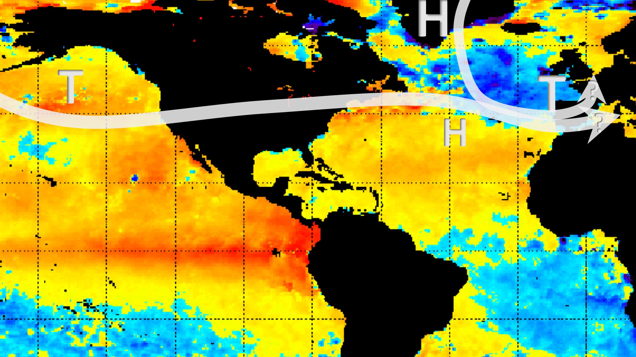 Ein Trog über dem östlichen Nordatlantik mit Tief über Spanien. Diese Wetterlage könnte im kommenden Winter häufig vorkommen.